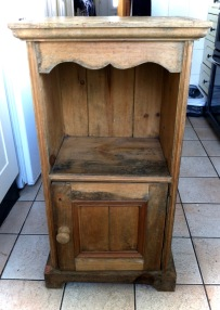 BEFORE... pine bedside cabinet