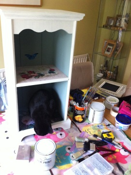 My cat Dizzy checking my work...